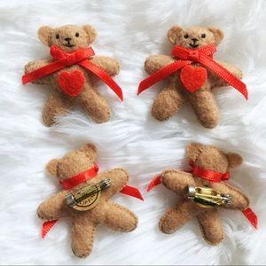 4 Cute Teddy Bear Pins/Brooches